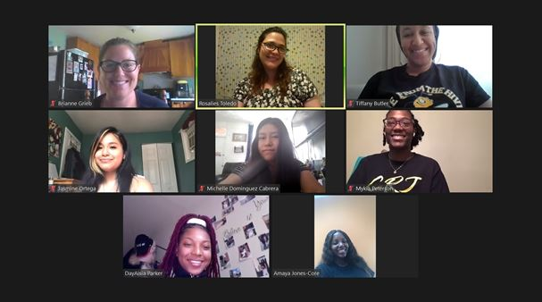 Teachers Rosalies Toledo (top row, second from left), and Tiffany Butler (top row, third from left), video conference with students participating in the 2020-21 Allied Health dual enrollment program.